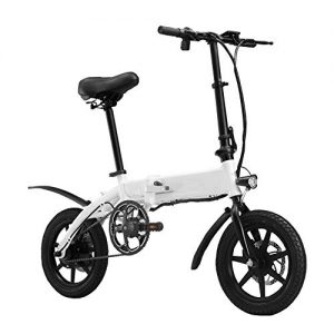Y&WY Electric Bike,Adult Bicycle Folding Body With LED Speed Display And Disc Brakes Travel Pedal Small Battery Car,White~4.8Ah