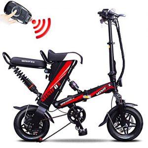 FJW Electric Bike Unisex Folding Bike High-carbon Steel 12″ Wheels Bike Double Disc Brake 36V Li-ion Battery with Remote Anti-theft Key for Commuter City