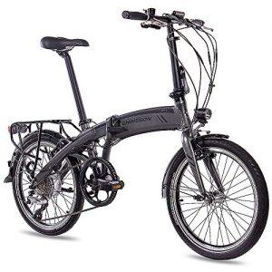 CHRISSON 20Inch Pedelec Electric Bike Folding Bike Electric Folding Bicycle EF12018with 8G Acera & Bafang Generation 2with 8,7ah Grey Matte