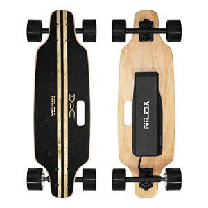 Nilox Doc Skateboard, Electric Cruiser Skateboard Boosted longboard dual motor with remote control, 12 km/h Speed, Black