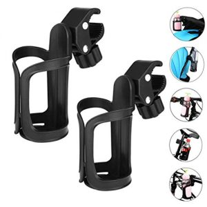JOCAM Bicycle Bottle Cages Bicycle Cup Holder, Universal 360 Degrees Rotation Cycling Water Bottle Holder Bracket for Bicycle, Road Bikes, Mountain Bike, Motor and Baby Stroller (Black, 2 Pack)