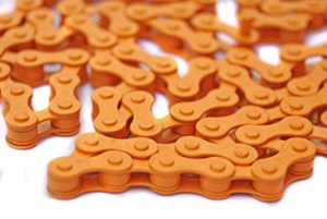 Clarks CH410O TRENDY SMART ORANGE BMX CHAIN 1/2″ X 1 1/8″ 112 LINK ALSO SUITABLE FOR FIXIE, SINGLE SPEED BIKES, RALEIGH CAPRICE, SHOPPER STOWAWAY ETC ETC