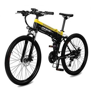 MERRYHE Folding Electric Mountain Bicycle 240W 48V 10AH Removable Li-Battery Cruiser Bike 27 Speeds Beach Snow Road Bikes Disc Brakes Full Suspension 26 Inch Tire