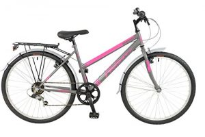 FalconExpression 2016 Unisex Mountain Bike Pink/Grey, 19″ inch steel frame, 6 speed strong and lightweight alloy wheel rims front and rear v-brakes