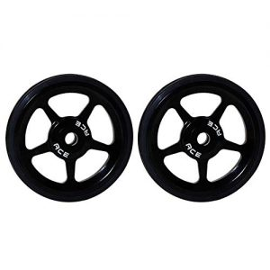Duk3ichton 2Pcs Ultra-Light Aluminum Alloy Rubber Easy Wheels for Brompton Folding Bike – Black