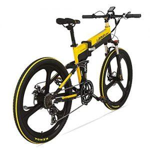 MERRYHE Adults Folding Electric Road Bicycle 240W 48V 10Ah Removable Li-Battery Cruiser Citybike 7 Speed Foldable Mountain Bike Beach Snow E-bike