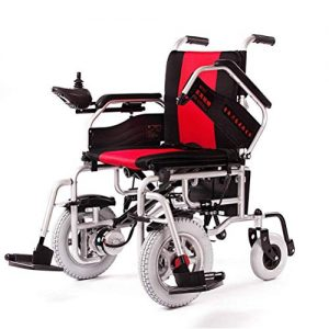 ZGYQGOO Electric Wheelchair Foldable Elderly Disabled Automatic Scooter, Drive with Electric Power Or Use as Manual (Lithium ion Battery 250W*2)