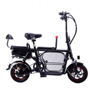 JUN Electric Folding Bicycle 12-Inch Folding Parent-Child Lithium Electric Two-Wheel Electric Vehicle Light Portable Pet Electric Bicycle
