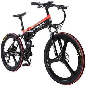MERRYHE 27 Speeds Four-link Suspension E-Bike 400W Electric Folding Cruiser Bicycle 48V 10AH Removable Li-Battery Mountain Bikes 26 Inch Integrated Wheel Road Bike