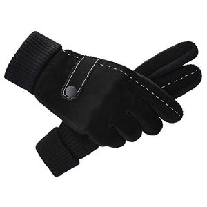 Lwj Men's leather winter cold warm cycling motorcycle plus velvet thick touch screen cotton gloves