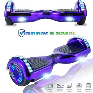 Chic 6.5 Inch Balance Board, Self Balancing Electric Scooter, Skateboard Wheels with LED Light, Motor 700W Bluetooth for Kids and Adults (Chrome Purple)
