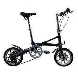 WHKJZ Foldaway Bicycle Unisex 14″ inch Steel Frame, 7 Speed Frame Ergonomic Design Saddle Suspension Shock Absorber Comfortable Breathable