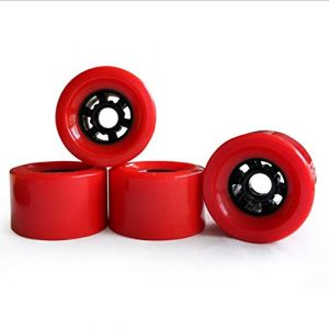 Z&S Set of 4 Longboard Wheels Road Racing Electric Skateboard Wheels 83mm 78A PE Hub (Color: Orange Black Red)