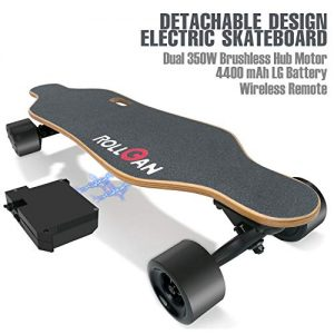 ROLLGAN Battery Detachable Electric Skateboard Dual Motors, Wireless Remote with Three Speed Modes, Detachable Battery, Power Bank[DE Inventory]