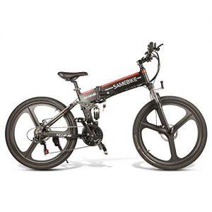 Mikonca Samebike 26″ Folding Electric Bike E-bike Aluminum Alloy 10.4AH 350W City Bicycle, 4-bar Full Suspension System, Shimano 21-speed, 35KM/H, 499WH, Max 80KM Distance-Black