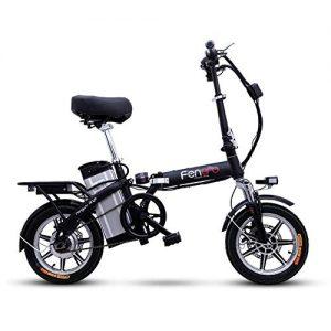 Suyanouz Portable Folding Electric Bike 14Inch Electric Bicycle Removable Battery Ebike Two Disc Brakes Electric Bike Mini Adult E Bike