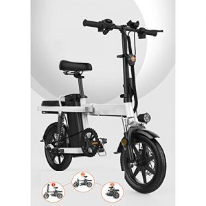 SHENXX Folding Electric Bicycle,14 Inch Electric Bike,Electric Folding Bike Foldable Bicycle Adjustable Height Portable for Cycling,E-Bike Built-in Lithium Battery,350W White