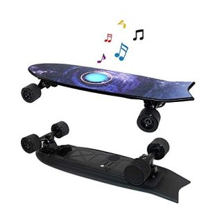 8bayfa Mini Caster Board Smart Electric Longboard Skateboard With Speaker With Remote Control, 35 Km/H High-speed Built-in LED Lights And Bluetooth Stereo Drop-Through Freeride Skating Cruiser Boards