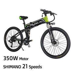 XXCY Electric Mountain Bike, 26-inch Folding Electric Bicycle With Ultra-lightweight Magnesium Alloy Spokes Wheel, Shimano 21-speed Gear, Advanced Full Suspension