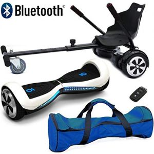 Nero Sport Chic Bluetooth 6.5″ Hover Scooter Board Self Balance with Hoverkart Go-Kart attachment bundle combo – Includes carry bag and remote key