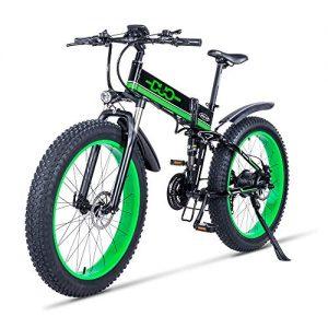 GUNAI Electric Mountain Bike 26 Inches Folding Fat Tire E-bike with 48V 12Ah Removable Lithium Battery