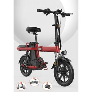 SHENXX Folding Electric Bicycle,14 Inch Electric Bike,Electric Folding Bike Foldable Bicycle Adjustable Height Portable for Cycling,E-Bike Built-in Lithium Battery,350W Red