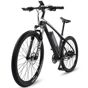 WuKai 26 Inch Carbon Fiber Lithium Battery Bicycle Electric Bicycle Off-road Power Electric Vehicle Mountain Bike