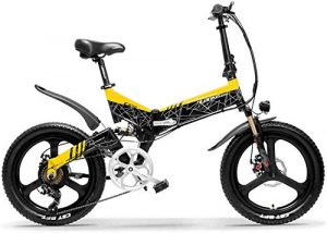 WJSW G650 20 Inch Folding Electric Bike 400W 48V 10.4Ah/12.8Ah/14.5Ah Li-ion Battery 5 Level Pedal Assist Front & Rear Suspension,Yellow