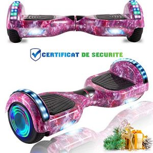 CHIC 6.5 Inch Balance Board, Self Balancing Electric Scooter, Skateboard Wheels with LED Light, Motor 700W Bluetooth for Kids and Adults(Purple Sky)