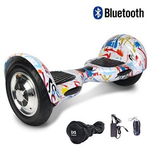 Cool&Fun Smart Two Wheels Electric Scooter 10″ Self Balancing Electric Scooter Bluetooth (Graffiti)